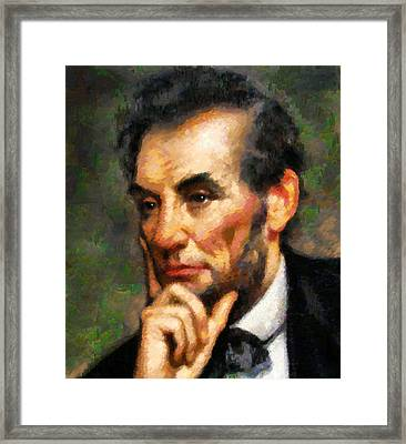 Abraham Lincoln - Abstract Realism Framed Print