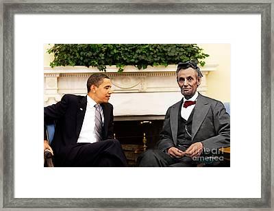 Abraham Lincoln And Barack Obama Framed Print by Jorge Fernandez