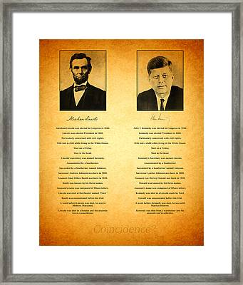 Abraham Lincoln And John F Kennedy Presidential Similarities And Coincidences Conspiracy Theory Fun Framed Print by Design Turnpike