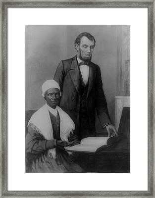Abraham Lincoln And Sojourner Truth Framed Print
