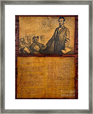 Abraham Lincoln The Gettysburg Address Framed Print