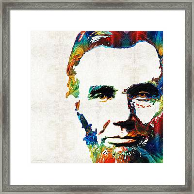 Abraham Lincoln Art - Colorful Abe - By Sharon Cummings Framed Print