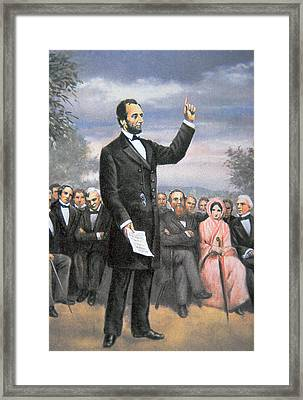 Abraham Lincoln Delivering The Gettysburg Address Framed Print by American School