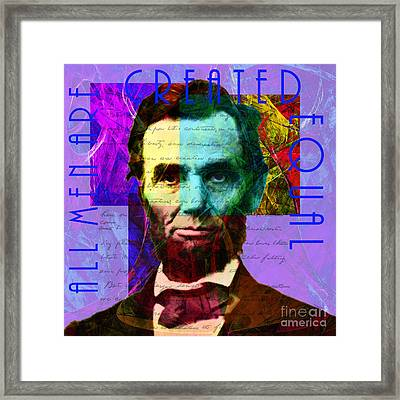Abraham Lincoln Gettysburg Address All Men Are Created Equal 2014020502m128 Framed Print by Wingsdomain Art and Photography