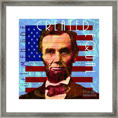 Abraham Lincoln Gettysburg Address All Men Are Created Equal 20140211p180 Framed Print by Wingsdomain Art and Photography