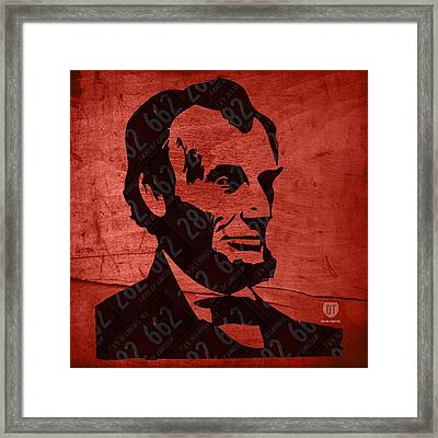 Abraham Lincoln License Plate Art Framed Print