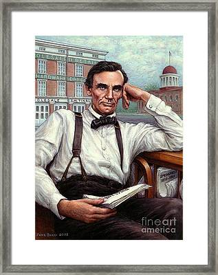 Framed Print featuring the painting Abraham Lincoln Of Springfield Bicentennial Portrait by Jane Bucci