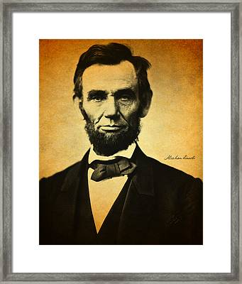 Abraham Lincoln Portrait And Signature Framed Print