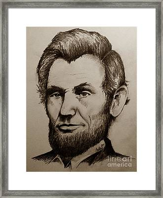 Abraham Lincoln Sepia Tone Framed Print by Catherine Howley