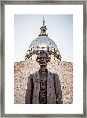 Abraham Lincoln Statue At Illinois State Capitol Framed Print by Paul Velgos