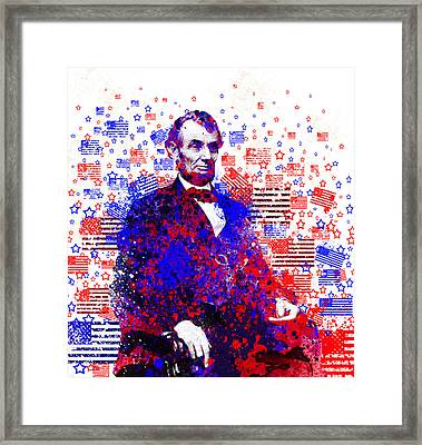 Abraham Lincoln With Flags 2 Framed Print by Bekim Art