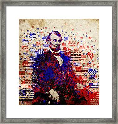 Abraham Lincoln With Flags Framed Print