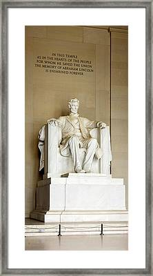 Abraham Lincolns Statue In A Memorial Framed Print by Panoramic Images