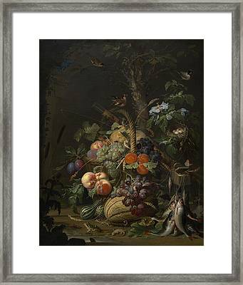 Abraham Mignon Still Life With Fruit Fish And A Nest C 1675 Framed Print by MotionAge Designs