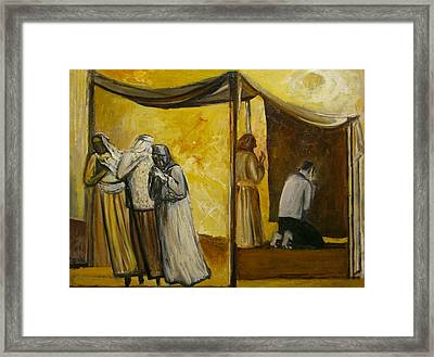 Abraham Praying Framed Print by Richard Mcbee