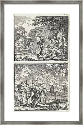 Abraham Receives The Three Angels, Lot Leaves Sodom Framed Print