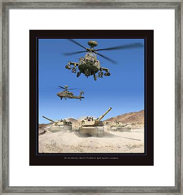 Abrams Battle Tank And Apache Longbow Framed Print by Larry McManus