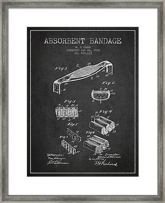 Absorbent Bandage Patent From 1906 - Charcoal Framed Print by Aged Pixel