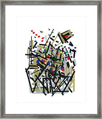 Abstact In Tape And Letterforms One Framed Print by Agustin Goba