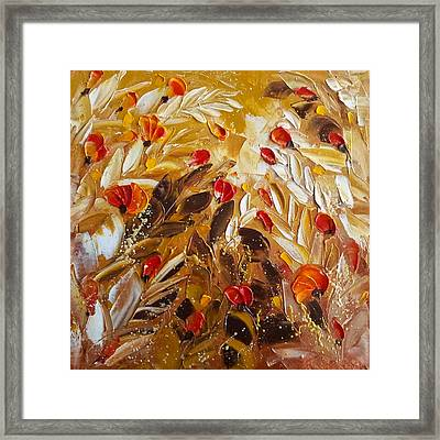 Abstact Red Flower Painting On Caramel By Ekaterina Chernova Framed Print