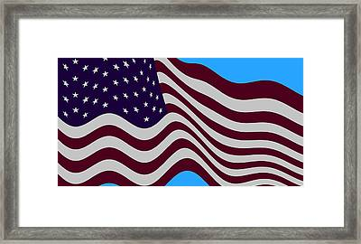 Abstract Burgundy Grey Violet 50 Star American Flag Flying Cropped Framed Print by L Brown