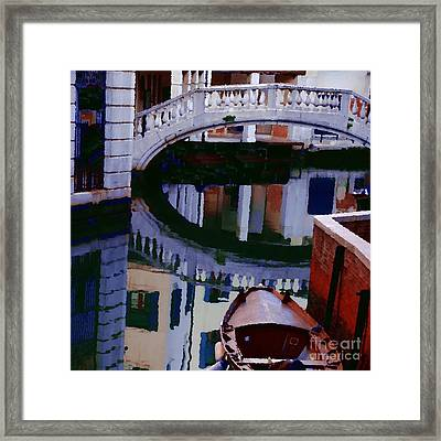 Abstract - Venice Bridge Reflection Framed Print by Jacqueline M Lewis