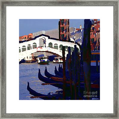 Abstract - Rialto Bridge Framed Print by Jacqueline M Lewis