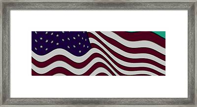 Abstract 50 Star American Flag Flying Enhanced Cropped X 2 Framed Print