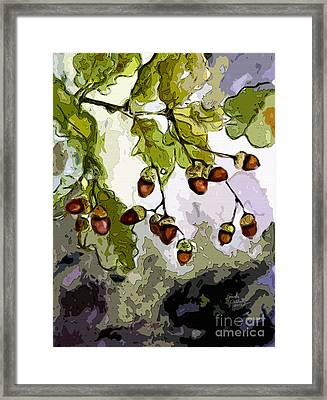 Abstract Acorns And Oak Leaves Framed Print by Ginette Callaway