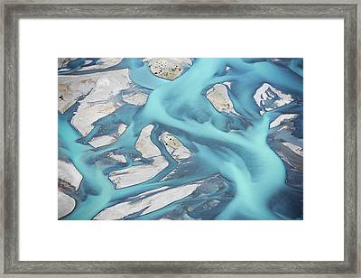 Abstract Aerial View Of River Bed Framed Print by Laurenepbath
