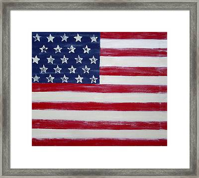 Abstract American Flag Painting Framed Print by Holly Anderson