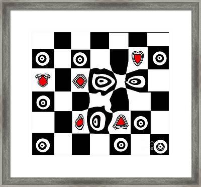 Abstract Art Black White Red Geometric Art No.110. Framed Print