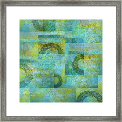 Abstract Art Blue Collage Framed Print by Ann Powell