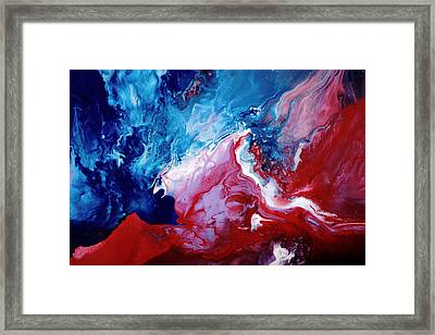 Abstract Art Blue Red White By Kredart Framed Print