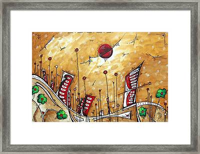 Abstract Art Cityscape Original Painting The Garden City By Madart Framed Print by Megan Duncanson