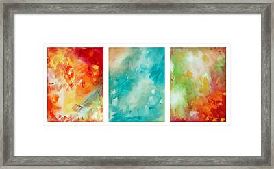 Abstract Art Colorful Bright Pastels Original Painting Spring Is Here By Madart Framed Print by Megan Duncanson
