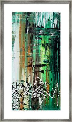 Abstract Art Colorful Original Painting Green Valley By Madart Framed Print by Megan Duncanson