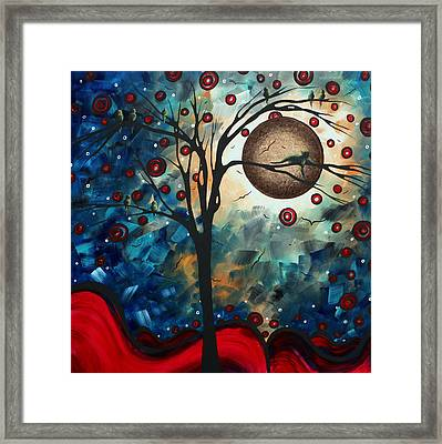 Abstract Art Contemporary Cat Bird Circle Of Life Collection Cat Perch By Madart Framed Print by Megan Duncanson