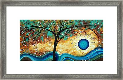 Abstract Art Contemporary Painting Summer Blooms By Madart Framed Print by Megan Duncanson
