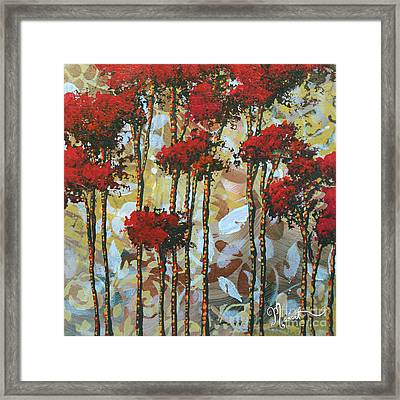 Abstract Art Decorative Landscape Original Painting Whispering Trees I By Madart Studios Framed Print by Megan Duncanson