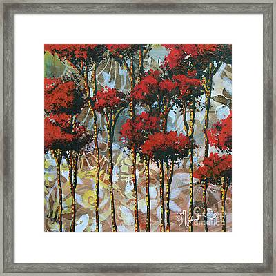 Abstract Art Decorative Landscape Original Painting Whispering Trees II By Madart Studios Framed Print by Megan Duncanson