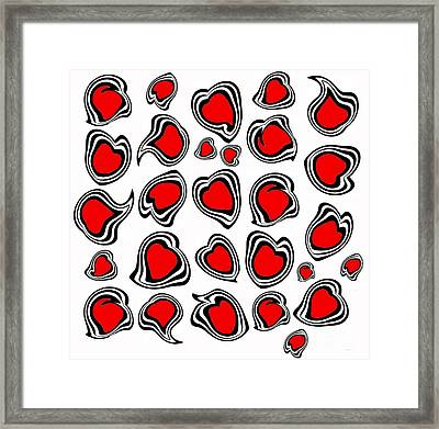 Hearts Black White Red No.386. Framed Print by Drinka Mercep