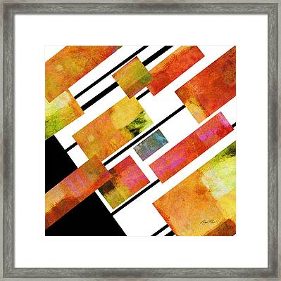 abstract art Homage to Mondrian Square Framed Print by Ann Powell