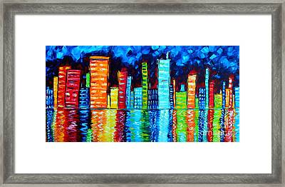 Abstract Art Landscape City Cityscape Textured Painting City Nights II By Madart Framed Print