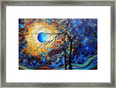 Abstract Art Landscape Metallic Gold Textured Painting Eye Of The Universe By Madart Framed Print