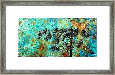 Abstract Art Landscape Metallic Gold Textured Painting Spring Blooms By Madart Framed Print