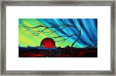 Abstract Art Landscape Seascape Bold Colorful Artwork Serenity By Madart Framed Print by Megan Duncanson