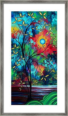 Abstract Art Landscape Tree Blossoms Sea Painting Under The Light Of The Moon II By Madart Framed Print by Megan Duncanson