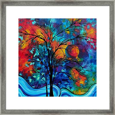 Abstract Art Landscape Tree Bold Colorful Painting A Secret Place By Madart Framed Print by Megan Duncanson
