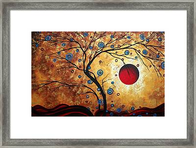Abstract Art Landscape Tree Metallic Gold Texture Painting Free As The Wind By Madart Framed Print by Megan Duncanson